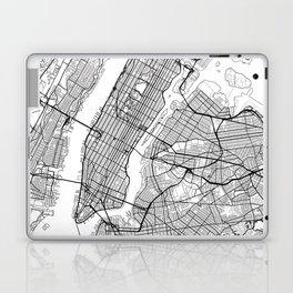New York City Neutral Map Art Print Laptop & iPad Skin