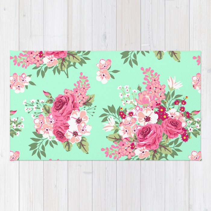 Cottage Chic Roses And Lilacs Floral In Aqua And Pink Rug