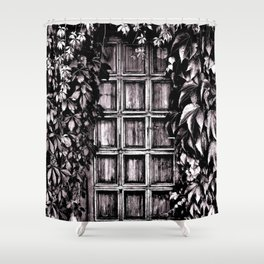 Black White Old Door Shower Curtain