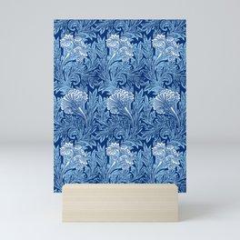 Jacobean Flower Damask, Cobalt and Light Blue Mini Art Print
