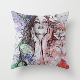 The Withering Spring: Wine (nude tattooed girl with flowers) Throw Pillow