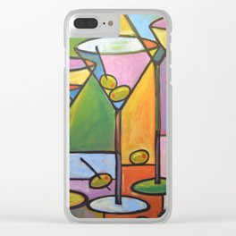 Abstract Art Wine Bar Alcohol Painting ... Martinis and Olives Clear iPhone Case