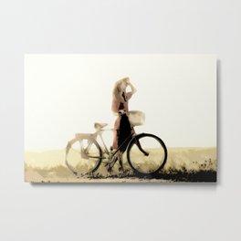 Gazing Woman With Bike [Abstract Modern Painting] Metal Print