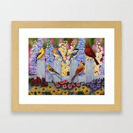 Spring Garden Party Birds and Flowers Framed Art Print