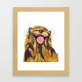 Happy otter Framed Art Print