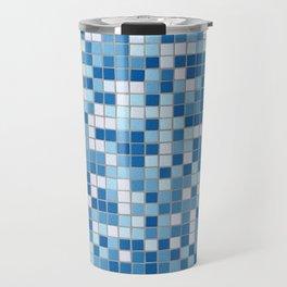 Blue Pool Squares Travel Mug