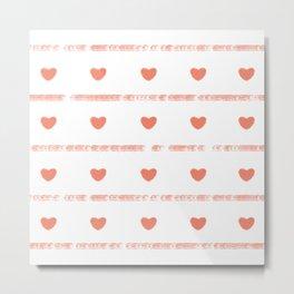 Mini Heart Love Watercolor Painting (Horizontal Pattern) Metal Print