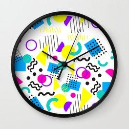 90's Neon Geometric Wall Clock