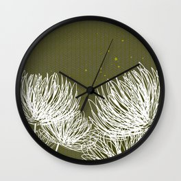Olive Doodle Floral by Friztin Wall Clock