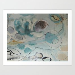 still waters - mixed media ocean collage in modern fresh colors mint, teal, cream, white, and gold Art Print