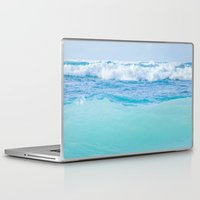 blankets Laptop & iPad Skins featuring Kapukaulua Pure Blue Surf by Sharon Mau