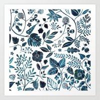 oana befort Art Prints featuring Blue Meadow by Oana Befort