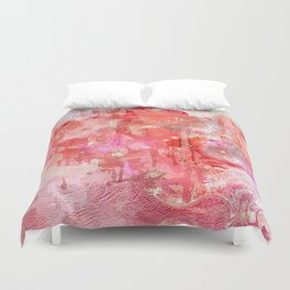 Modern contemporary pastel Blush and Peaches Abstract Duvet Cover