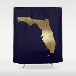 Florida Gold Foil Navy Background Shower Curtain