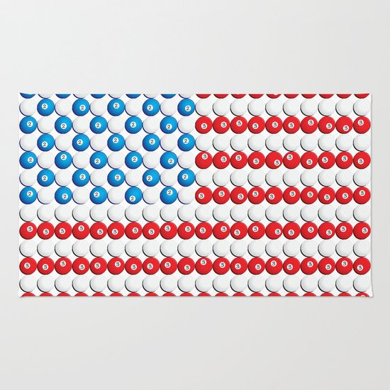 Pool Ball Billards American Flag Rug