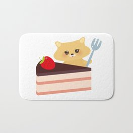 cute kawaii hamster with fork, Sweet cake decorated with fresh Strawberry, pink cream and chocolate Bath Mat