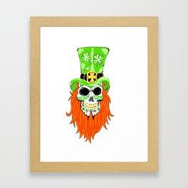 Shamrock Sugar Skull Framed Art Print