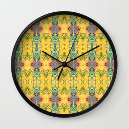 Vintage African Yellow Dynamic Pattern Wall Clock