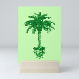 Potted Palm Tree, Emerald and Light Green Mini Art Print
