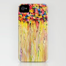 OPPOSITES LOVE Raining Sunshine - Bold Bright Sunny Colorful Rain Storm Abstract Acrylic Painting Slim Case iPhone (4, 4s)