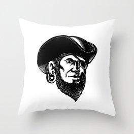 Pirate Wearing Eye Patch Scratchboard Throw Pillow