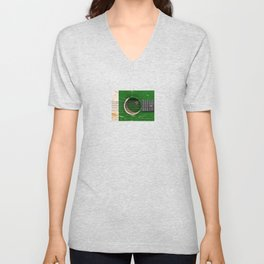 Old Vintage Acoustic Guitar with Pakistani Flag Unisex V-Neck