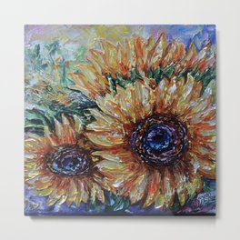 Countryside Sunflowers Palette Knife Metal Print
