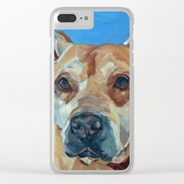 Happy the Bully Dog Portrait Clear iPhone Case