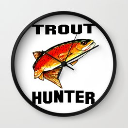 Trout Hunter Yellowstone Cutthroat Trout Fish Fishing Stream Fly Nature Jackie Carpenter Wall Clock