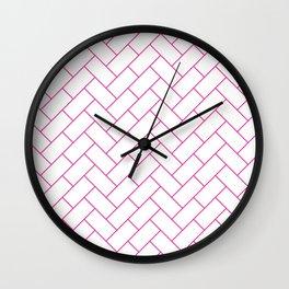 Traditional Herringbone -  Pink Wall Clock