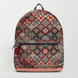 (N19) Colored Floral Moroccan Traditional Bohemian Artwork Backpack