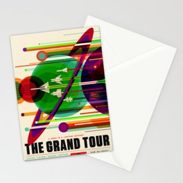 NASA Outer Space Saturn Shuttle Retro Poster Futuristic Explorer Stationery Cards