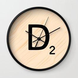 Scrabble Letter D - Large Scrabble Tiles Wall Clock