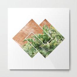 abstract nature art print, minimalist art plant, minimalist scandinavian design, sacred geometry, geometric nature wall, art print succulent Metal Print