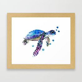 Sea Turtle, blue purple illustration children room cute turtle artwork Framed Art Print