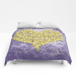 Gold butterflies on ultraviolet fractal texture Comforters