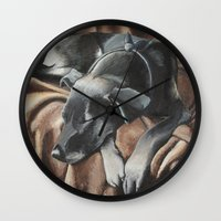 gizmo Wall Clocks featuring Gizmo by Athena Cooper