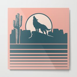 Howling at the Moon Landscape 233 Beige Green and Dusty Rose Metal Print