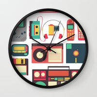 technology Wall Clocks featuring Retro Technology 1.0 by Ralph Cifra