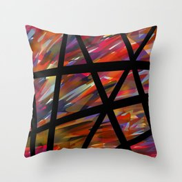 Colorful Chaos - Blacked Throw Pillow