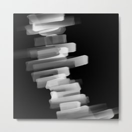 Stairs of Light - Black and White Metal Print
