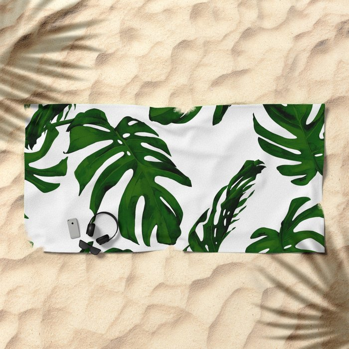 Simply Tropical Palm Leaves in Jungle Green Beach Towel