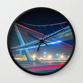 Bridge blue red night Wall Clock