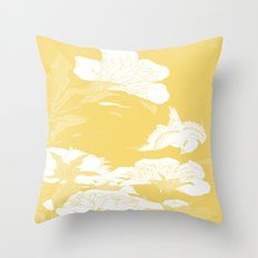 japanese flowers. Marigold Yellow Throw Pillow