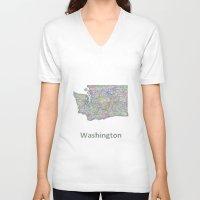 washington V-neck T-shirts featuring Washington map by David Zydd