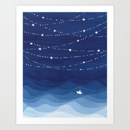night sky, ocean painting Art Print