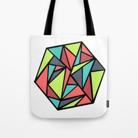 hexagon Tote Bags featuring Hexagon by chrfahnestock