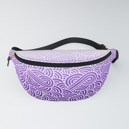 Faded purple and white swirls doodles Fanny Pack
