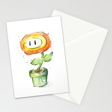 Fireflower Mario Watercolor Stationery Cards