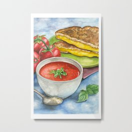 Tomato Soup with Grilled Cheese Sandwich Metal Print